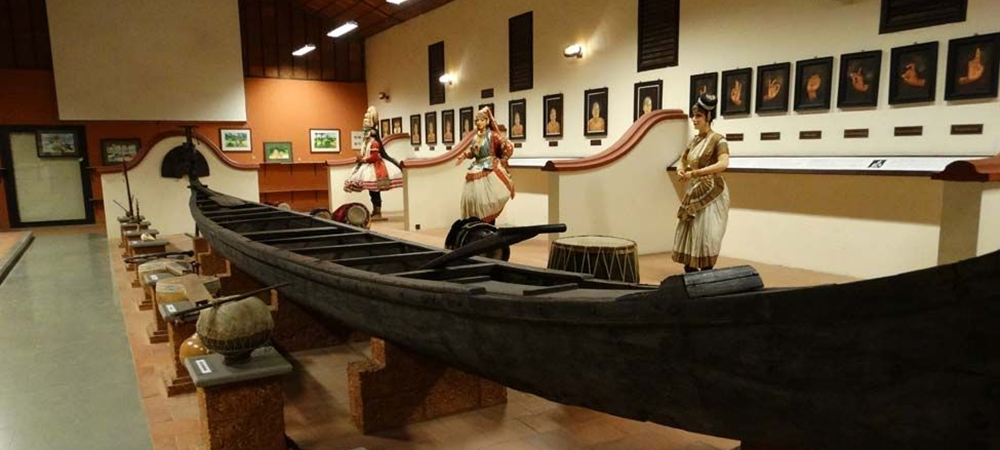 Models of Kerala artists, boats and musical instruments