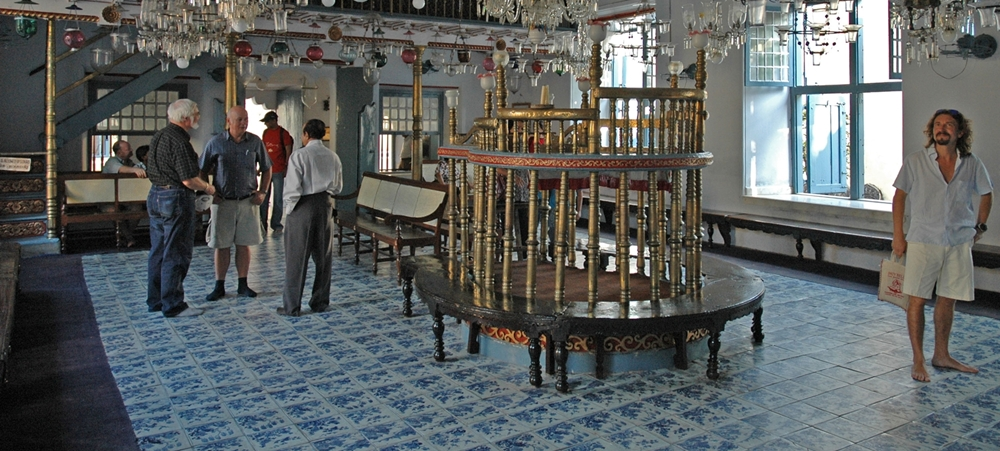 The inside view of the Jewish Synagigue in Fort Cochin