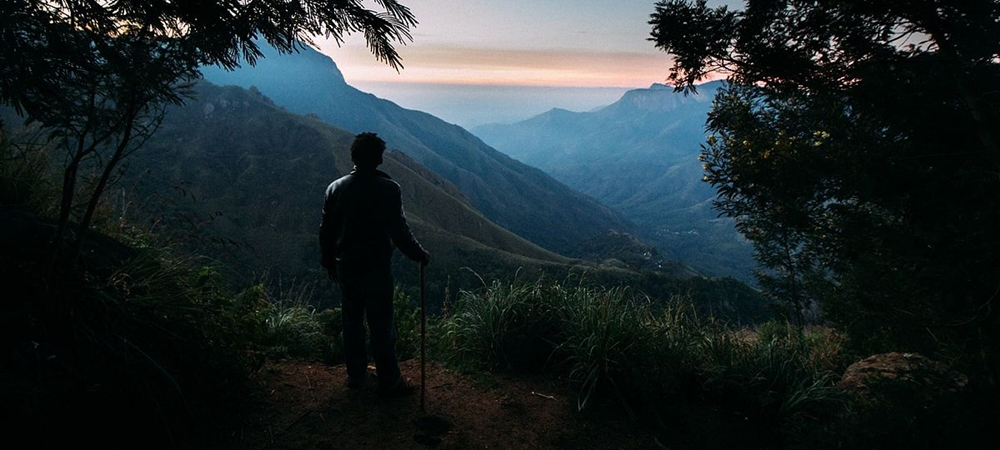 Man enjoying a spectacular view from the Top Station in Munnar