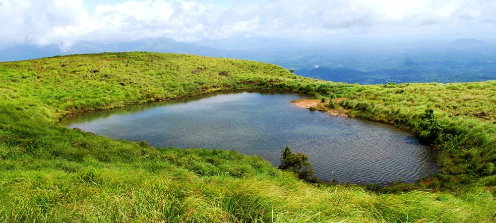 The heart-shaped lake on top of the Chembra Peak