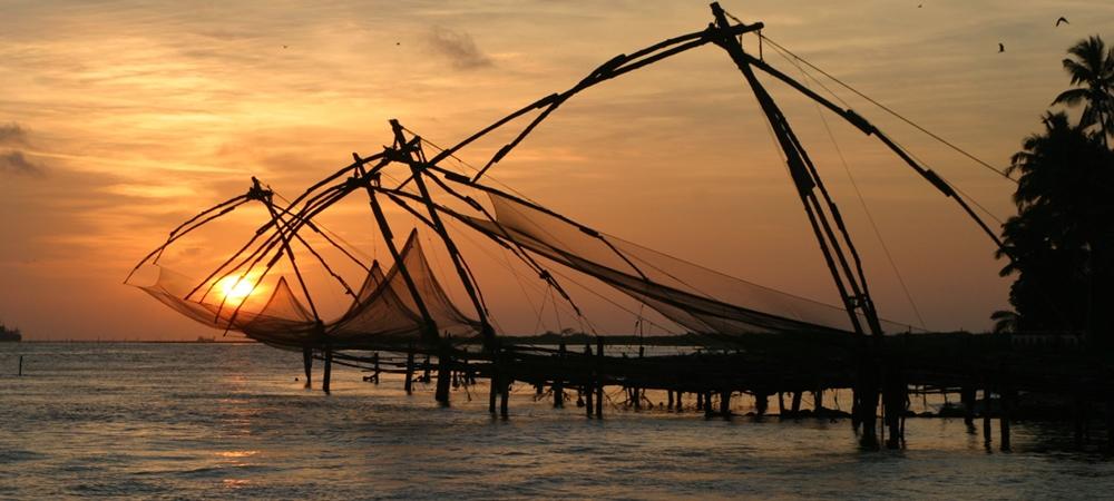Beautiful Chinese Fishing Nets during sunset