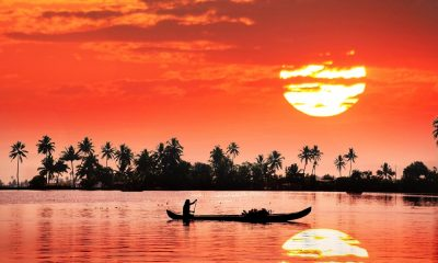 Sun setting over the backwaters of Kerala