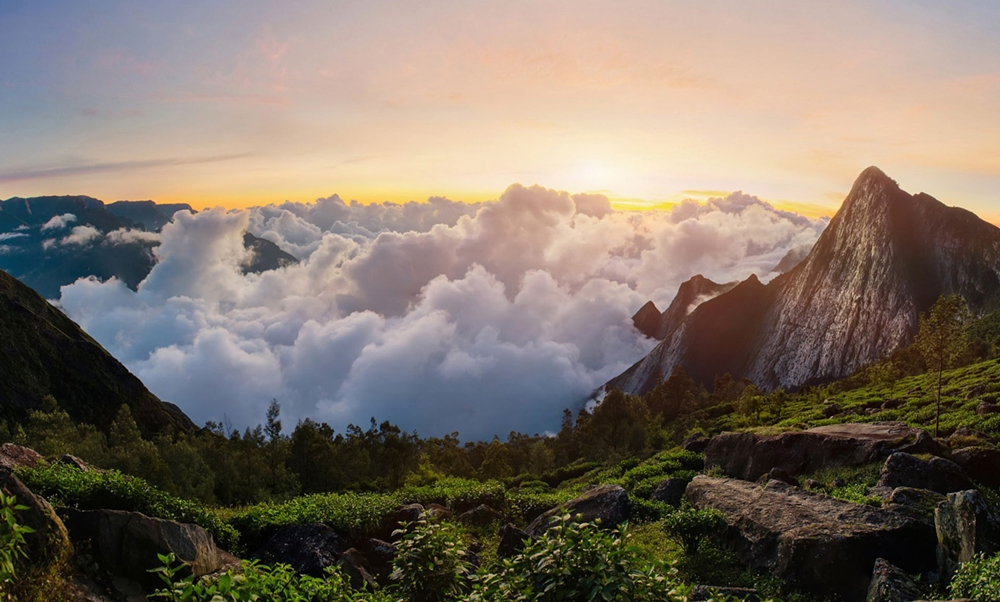 Scenic view of the clouds from the mountains