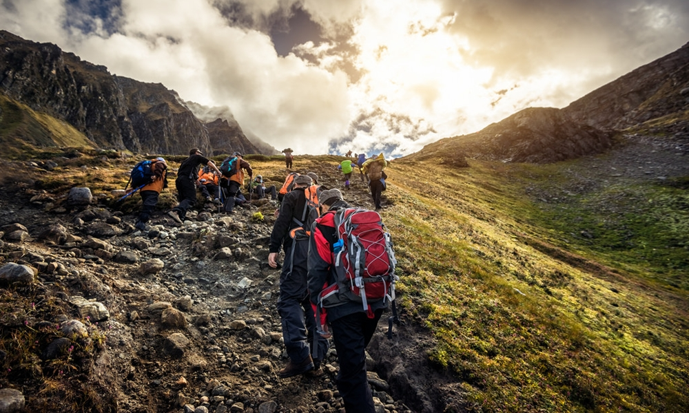 A group on a trek