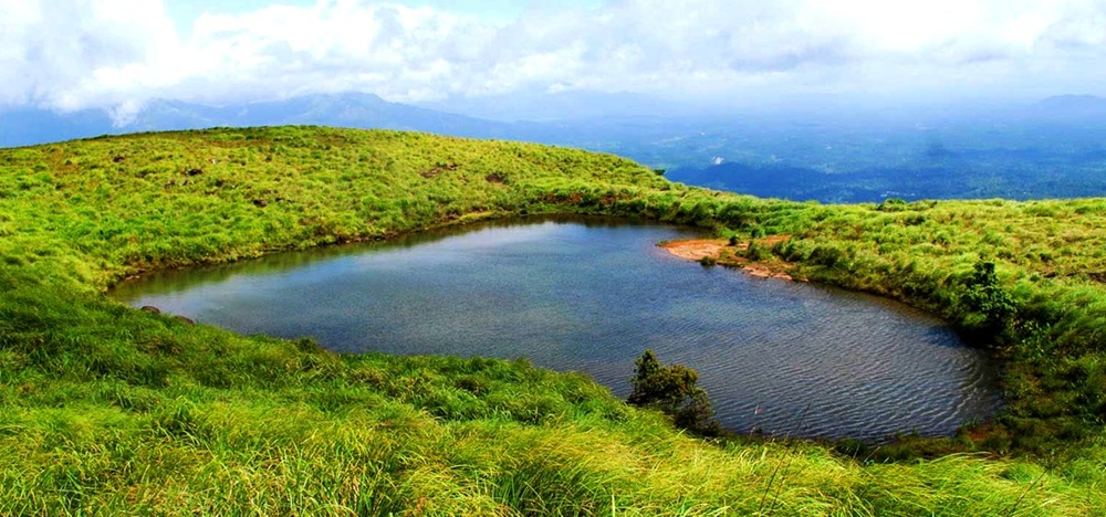 The heart-shaped lake on the Chembra Peak