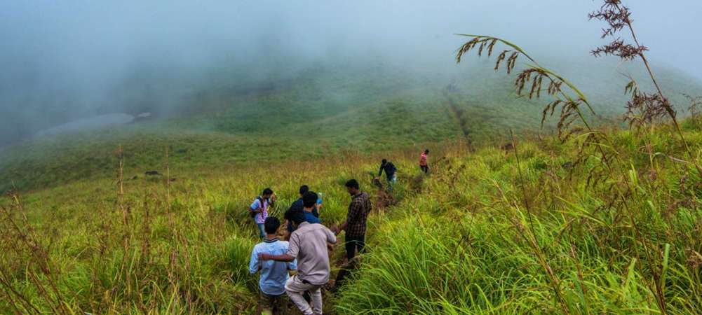 A group of boys on a soft trek