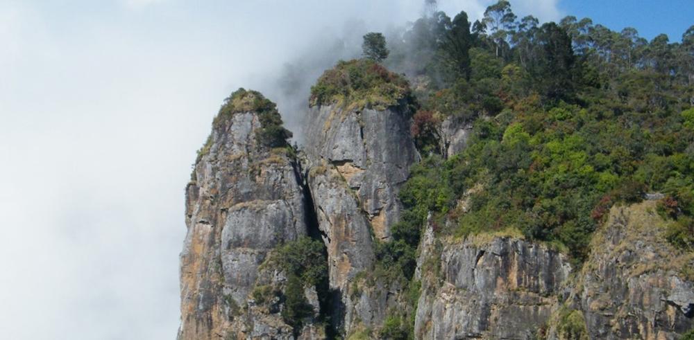 The foggy pillar rocks at Kodaikanal