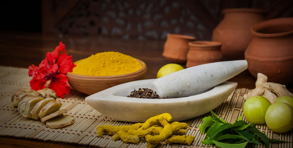 Natural materials used in ayurvedic treatments
