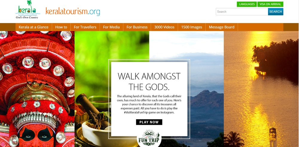 The homepage of Kerala Tourism website