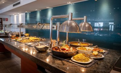 Lavish buffet spread in a hotel's restaurant
