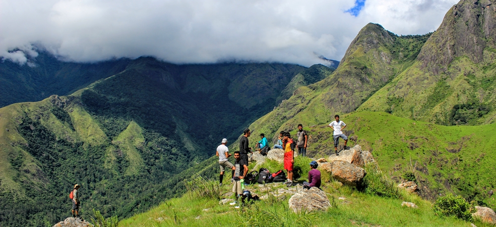 A group of trekkers resting after a long trek
