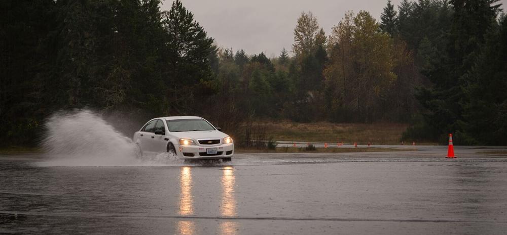 Car skidding in the rainwater