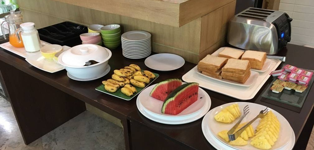 Simple breakfast spread at a hotel's restaurant