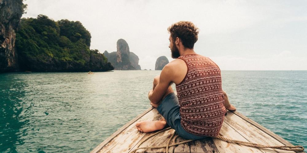 Solo traveler taking his time to enjoy the view