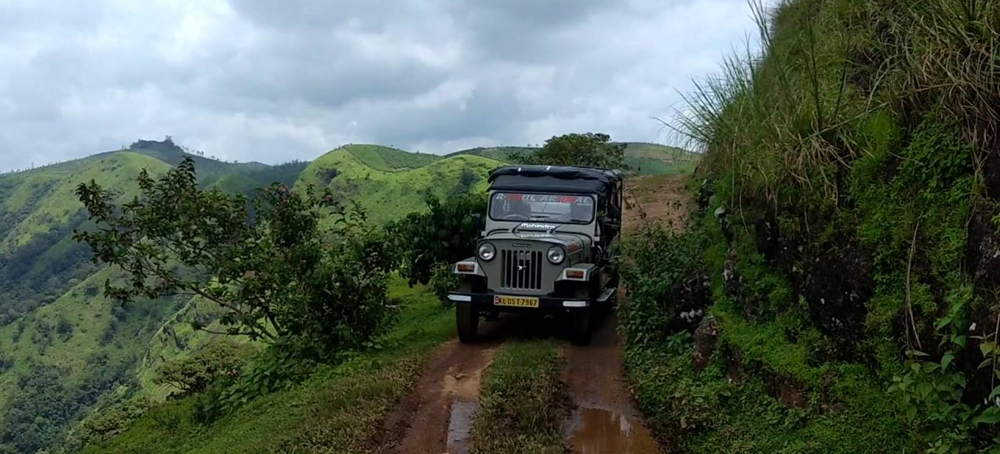 Jeep safari on the mountain road