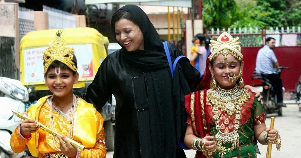 Muslim woman dressing her son up as Krishna