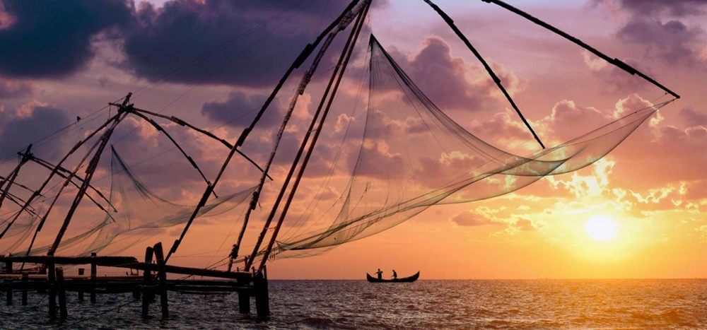 Chinese fishing nets during sunset