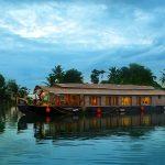 Houseboat cruising through scenic backwaters